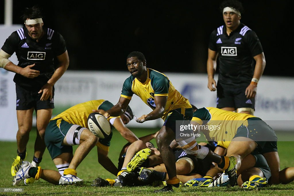 Moses Sorovi of Australia passes during the Under 20s Oceania Rugby match between Australia and New Zealand at Bond University on May 3, 2016 in Gold Coast, Australia.