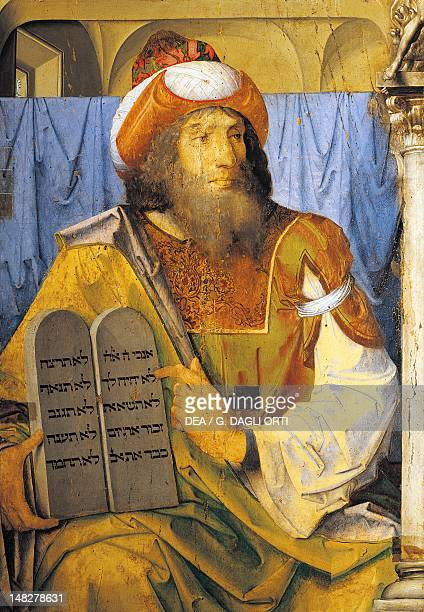 Moses with the Ten Commandments from a series of portraits of illustrious men by Joos van Wassenhove Urbino Palazzo Ducale