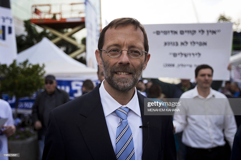 Moshe Feiglin, ruling rightwing Likud party candidate, leaves a polling station after casting his vote on November 25, 2012 in Jerusalem, in his party's leadership primary ahead of a general election on January 22. According to army radio, Prime minister Netanyahu has been putting pressure on his supporters to work to block any candidates seen as too extreme so that he will be able to present a 'moderate' list which will not alienate centrist voters.