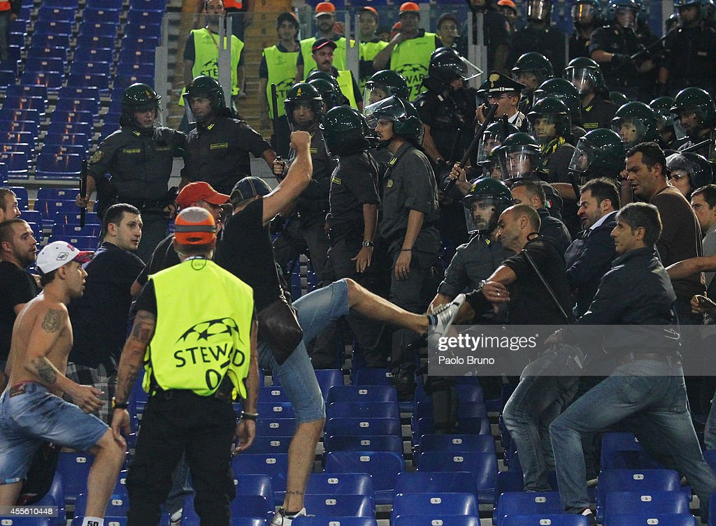 Moskva Fans fight with Police during the UEFA Champions League Group E match between AS Roma and PFC CSKA Moskva on September 17 2014 in Rome Italy
