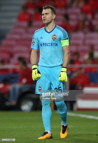 Moskva goalkeeper Igor Akinfeev from Russia in action during the UEFA Champions League match between SL Benfica and CSKA Moskva at Estadio da Luz on...