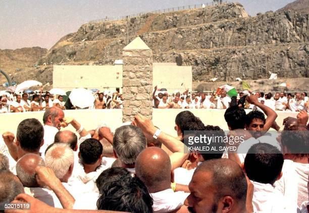 Moslem pilgrims take part in the 'Stoning of Satan' ritual 08 April in Mina near the holy city of Mecca At least 107 Moslem pilgrims were killed in a...