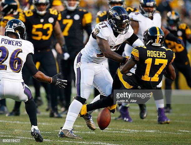 J Mosley of the Baltimore Ravens is penalized for a hit on Eli Rogers of the Pittsburgh Steelers in the first quarter during the game at Heinz Field...
