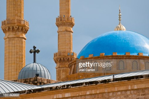 Mosque and church juxtaposed in Beirut, Lebanon