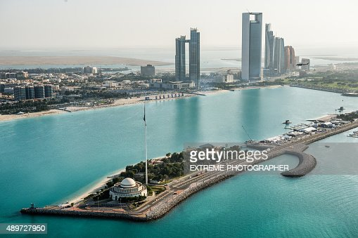 Mosque and coastline in Abu Dhabi