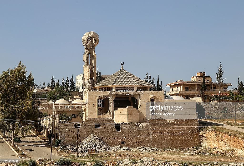 A mosque destroyed during the clashes between the Syrian opposition forces and Shiite militia forces, in al-Rashedin neighborhood Aleppo, Syria on April 27, 2016.