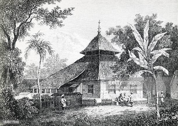 Mosque in Ambon capital of Maluku engraving from Alfred Russel Wallace's expedition in Australia and the neighboring islands Indonesia 19th century
