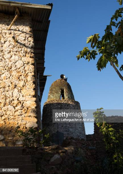 Mosque minaret in a traditional Argoba stone houses village on January 12 2017 in Koremi Ethiopia