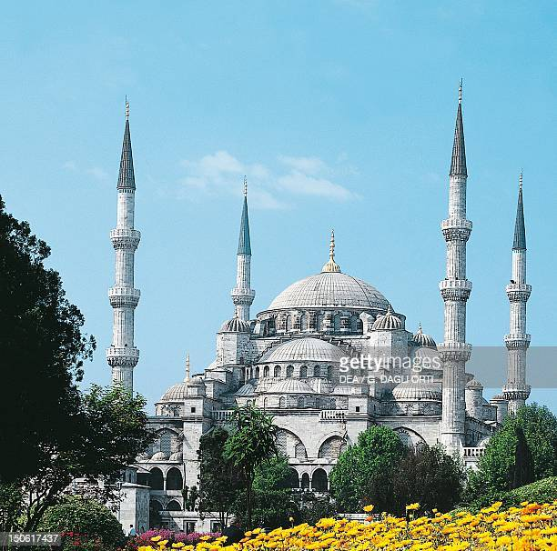 Mosque of Sultan Ahmet I known as the Blue Mosque built from 1609 to 1616 by architect Mehmet Aga historic areas of Istanbul Turkey