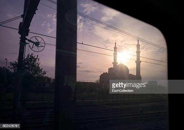 Mosque seen from window of train, the Netherlands