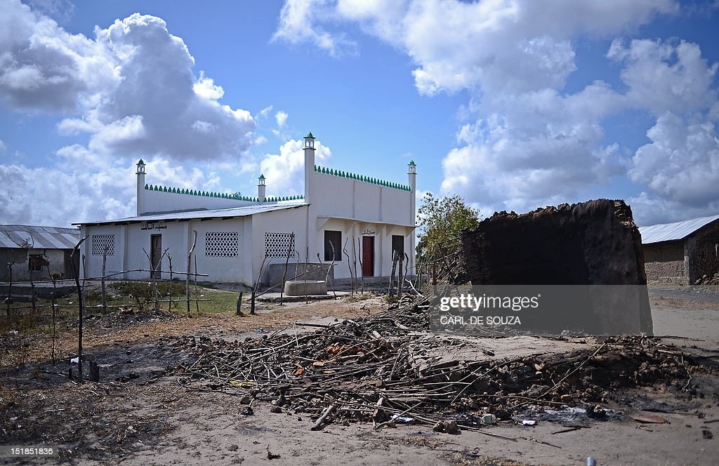 A mosque stands by a burnt out hut in Kilelengwani village in the Tana river Delta on September 12, 2012. The red cross claim 8 children were slaughtered by members of the Pokomo tribe during an attack by 300 tribesmen on the village which left 38 people dead, 167 houses burnt to the ground, and scores of slaughtered cattle. Some women and children survived the attack by hiding in the mosque. The Kenyan government has authorised a deployment of 1,300 General Service Unit (GSU) officers, the Kenyan specialist riot police squad, in the area and a dusk to dawn curfew, after 112 people were killed in clashes between the Pokomo and Orma tribes since late August 2012. AFP PHOTO/Carl de Souza