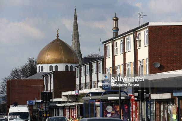 A mosque stands next to a church in Lozells on March 23 2017 in Birmingham England After yesterday's London terror attack police have made a number...