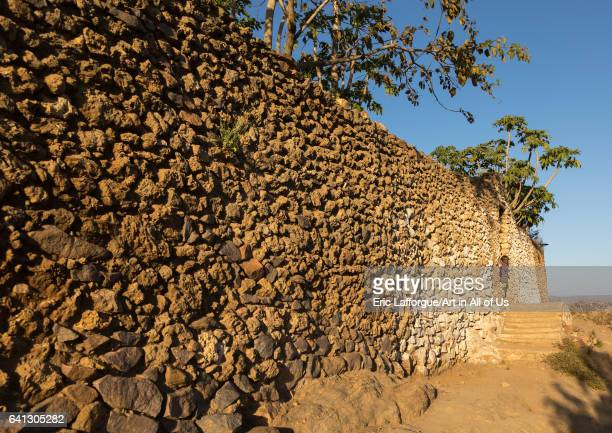Mosque wall in a traditional Argoba stone houses village on January 12 2017 in Koremi Ethiopia