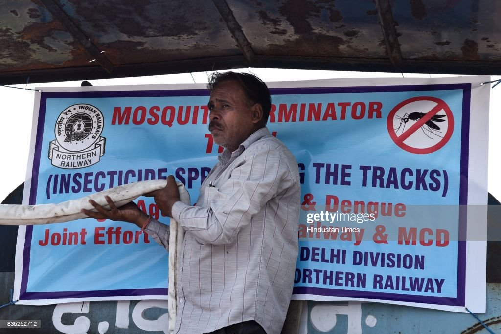 Mosquito Terminator Special Train in Delhi area flagged off from New Delhi Railway Station on August 18, 2017 in New Delhi, India. Delhi Division Northern Railway and South Delhi Municipal Corporation (SDMC) have collaborated to jointly launch the Mosquito Terminator Special Train to check mosquito breeding alongside the railway tracks. Train will spray insecticide to sanitise water bodies up to a distance of 50-60 metres along the tracks. It is expected to cover a distance of 70 kilometres a day. This year, the authorities have planned eight trips of terminator trains between August 18 and September 16.