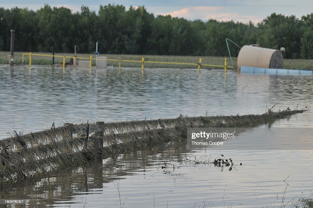 A moss and debris-covered fence traverses a farm field inundated by flood water September 17, 2013 near Evans, in eastern Colorado. Even as flooding subsides, many in the hardest hit areas of the state remain stranded by washed out roads and rushing creeks and without water and power.