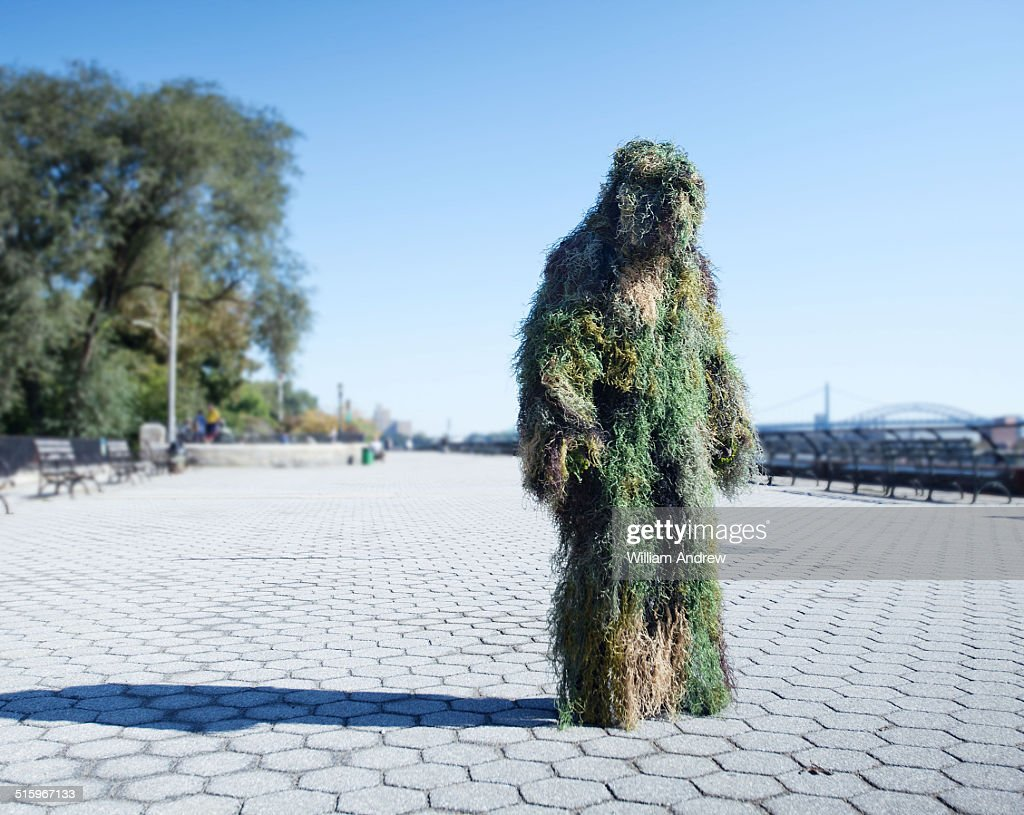 Moss monster in urban landscape