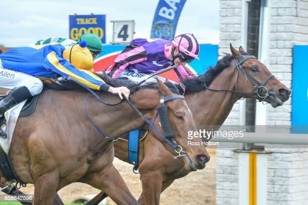 Moss 'n' Bolt ridden by Linda Meech wins the Gippsland Grain Store Maiden Plate at Bairnsdale Racecourse on October 08 2017 in Bairnsdale Australia