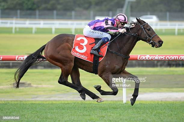 Moss 'n' Dale ridden by Beau Mertens wins The Grand Hotel Frankston Hcp at Ladbrokes Park Lakeside Racecourse on August 07 2016 in Springvale...