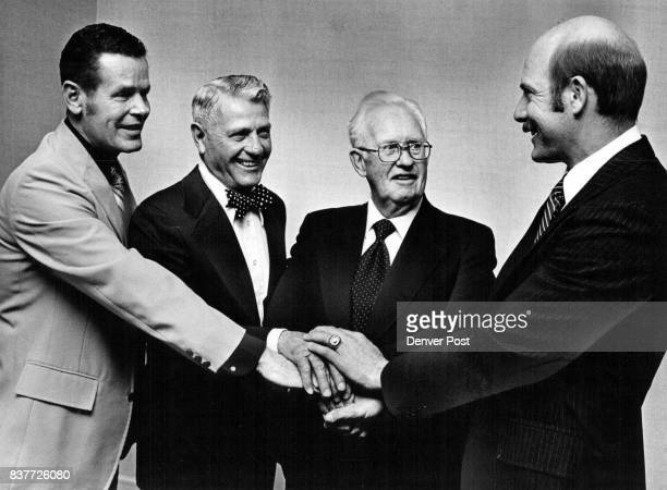 Most Distinguished Foursome At Hall Of Fame Banquet Bobby Unser representing his uncle Louis Unser Fritz Bren necke Jim Baggot and Dick Anderson...