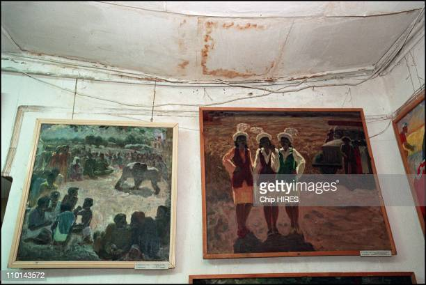 Most extensive collection of gulagera art in a museum in Nukus Uzbekistan in October 2001 Collapsing ceiling near paintings