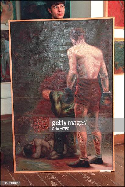 Most extensive collection of gulagera art in a museum in Nukus Uzbekistan in October 2001 'Boxer' by K Redko