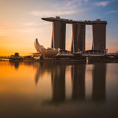 Most famous integrated resort fronting Marina Bay in the morning light Singapore