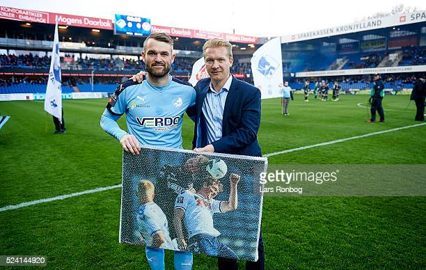 Most games for Randers FC Mads Fenger of Randers FC receives a picture prior the Danish Alkla Superliga match between Randers FC and AaB Aalborg at...