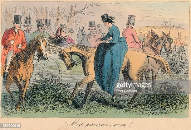 'Most pernicious woman' 1865 From Mr Facey Romford's Hounds written by Robert Smith Surtees illustrated by John Leech and HK Phiz Browne [Bradbury...