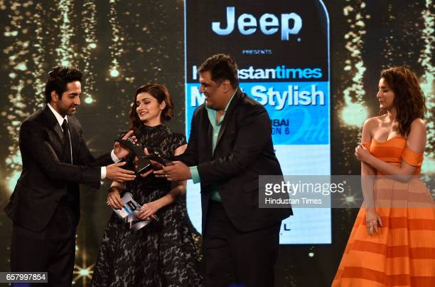 Most Stylish Youth Icon Award to Parineeti Chopra and Ayushmann Khurrana presented by Prachi Desai and Ruparel during the HT Mumbai's Most Stylish...