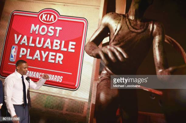 Most Valuable Player Russell Westbrook speaks on stage during the 2017 NBA Awards Live On TNT on June 26 2017 in New York City 27111_001