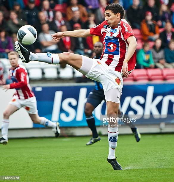 Mostafa Abdellaoue of Tromso IL in action during the Norwegian Tippeligaen match between Tromso IL and Stabaek Fotball held on June 26 2011 at the...