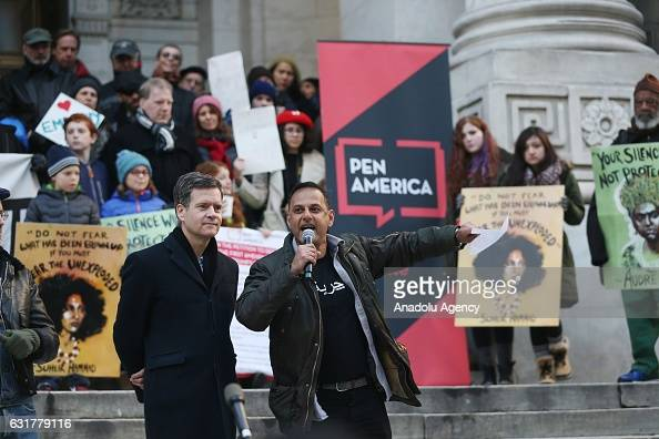 STATES JANUARY 15 Mostafa Bayoumi professor at Brooklyn College speaks during a march Hundreds of writers and artists and thousands of New Yorkers on...