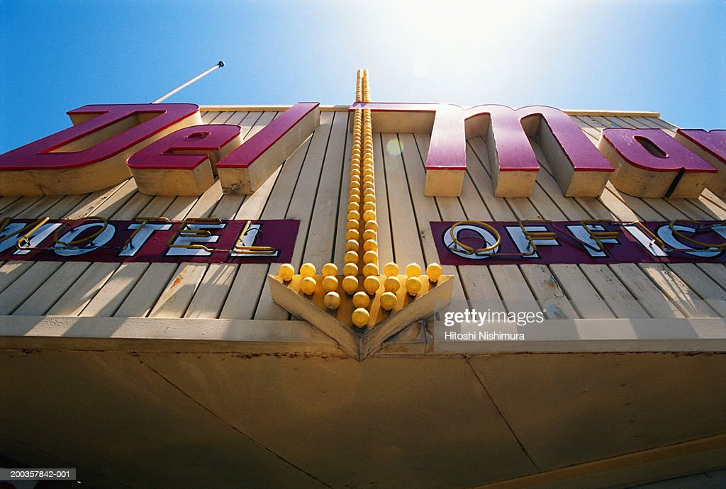 Motel sign, low angle view : Stock Photo