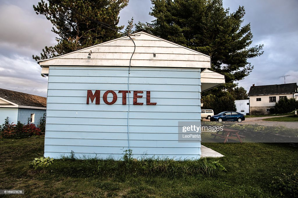 Motel sign on a road in Canada, Ontario : Stock Photo