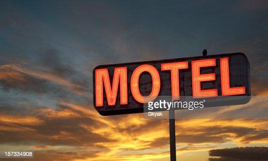 Motel sign sunset