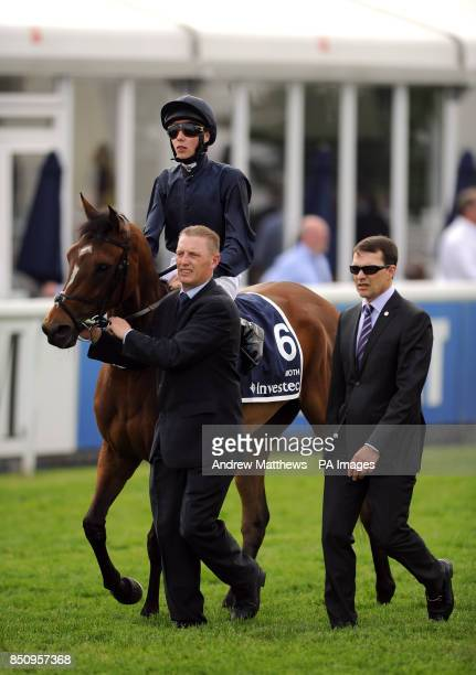 Moth ridden by jockey Joseph O'Brien goes to post in the Investec Oaks