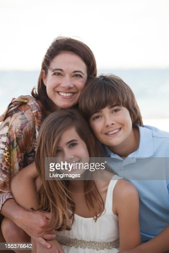 Mother & her Children on the Beach