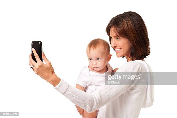 Mother and Baby Child Selfie Isolated on White Background
