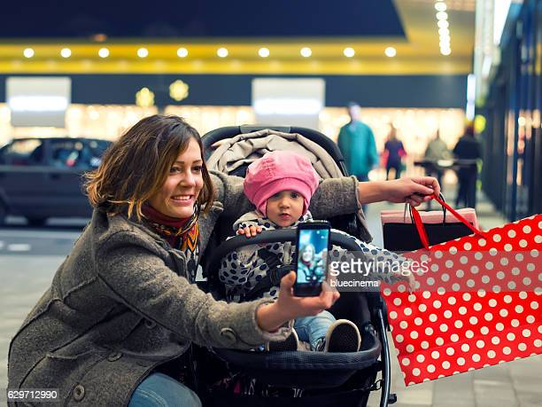 Mother and baby in shopping mall