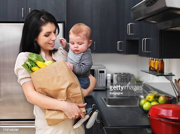 Mother and baby in the kitchen