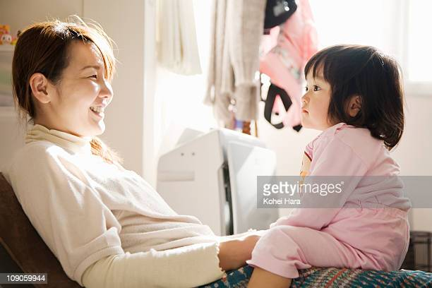 mother and baby relaxed at home