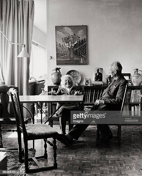 Mother and brother of Le Corbusier in Le Corbusier's apartment in Vevey at Lake Geneva Switzerland Photography 1959 [Die Mutter und der Bruder von Le...