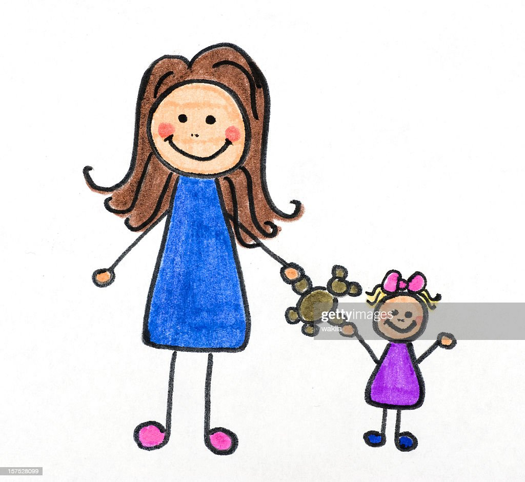 mother and child drawing : Stock Photo