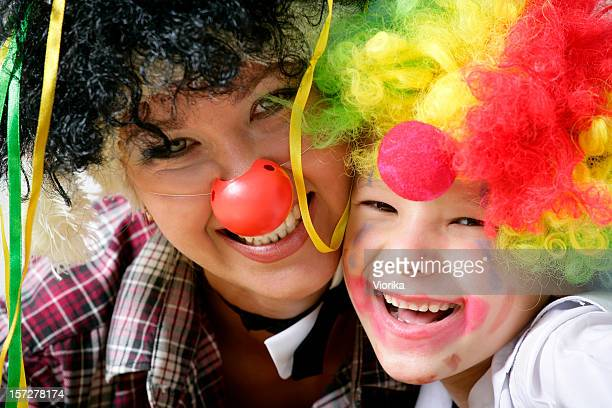 Mother and child dressed up as funny clowns