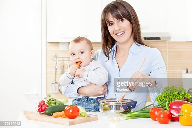 Mother and child preparing a healthy meal