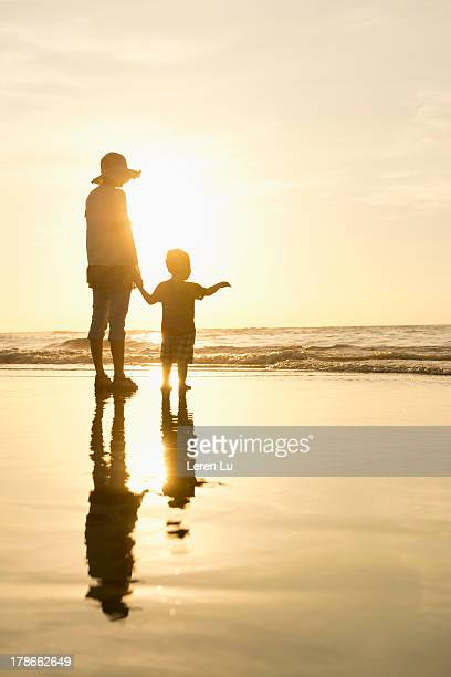 Mother and child relaxed on the beach
