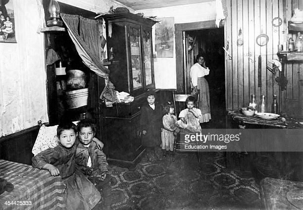 Mother And Children In Crowded Italian Home Rhode Island Providence