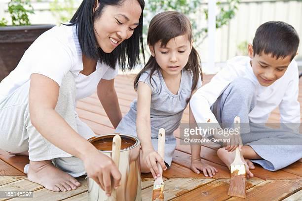 Mère et enfants, Peindre la terrasse