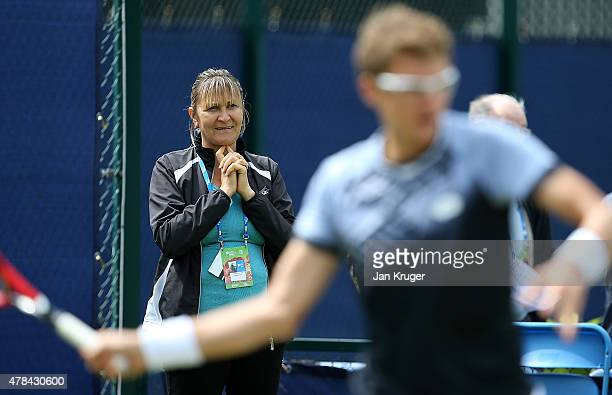 Mother and coach of Denis Istomin of Uzbekistan Klaudiya Istomin looks on during a ptactise session on day five of the Aegon Open Nottingham at...