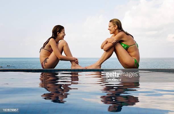 Mutter und Tochter am Rand des Pools